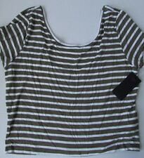 NWT GUESS Striped Cropped Top Simple Striped Taupe/White Size XL