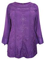 Eaonplus ladies tunic top blouse plus size 26 28 30 32 purple gothic steampunk