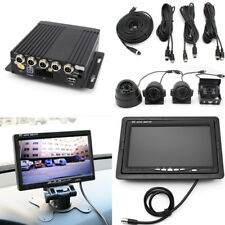 "7"" Car Truck Monitor 4CH Video Recorder Box With 4x Waterproof Front Rear Camera"