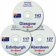 Family History Tree Genealogy Scotland Cities Edinburgh Aberdeen Glasgow 3 DVDs
