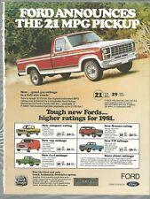 1981 FORD F150 Ranger advertisement, Ford Ranger 150 Pickup truck