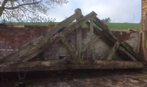 PAIR of RECLAIMED ENGLISH OAK BEAM TRUSSES Approx 5.6m Wide