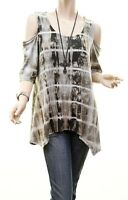 PLUS Olive Goth Boho Tie Dye Sharkbite Cold Shoulder Tunic Shirt Top 1X 2X 3X
