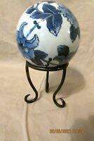 Blue & White Ceramic Small Decorative Ball & Stand
