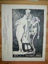 313-Bal de l'Internant de Médecine 1930, invitation grand format  avec un bois g