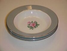 Correct Table Service China Brittany Rose Grey Rim Soup Bowl Set