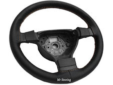 BLACK PERFORATED LEATHER STEERING WHEEL COVER FOR PEUGEOT 3008 BEIGE STITCH 08+