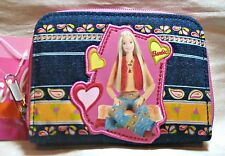 """BARBIE Blue Denim """"Love & Peace"""" Zippered WALLET COIN PURSE Tote NEW!!"""