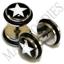 0169 Fake Cheater Faux Illusion Ear Plugs 16G Look 0G 8mm Star Black White Stars