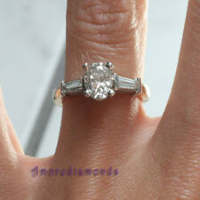 1.4 ct H SI1 oval brilliant baguette cut diamond 3stone engagement ring 18k gold