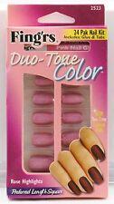 Fing ' Rs Dos Tonos Color 24 Pak Uña Kit - Rosa Realzar - 2523