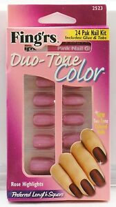Lot of 144 Fing'rs Duo-Tone Color 24 Pak Nail Kit - Rose Highlights - 2523