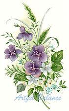 Ceramic Decals Purple White Violet Floral Bouquet