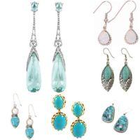Trendy 925 Silver Turquoise Ear Dangle Drop Earrings Women Wedding Jewelry Gift