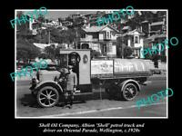OLD 8x6 HISTORIC PHOTO OF SHELL OIL COMPANY PETROL TANKER c1920s NEW ZEALAND