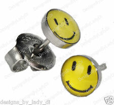 Ear Piercing Earrings Yellow Smiley Face Stainless Silver Studs Studex System 75