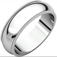 Solid 14 Karat White Gold 6.00mm Milgrain Wedding Anniversary Band Ring