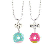 2PCS Doughnut Best Friends Children's Necklace Teens Girls 2 Necklaces Donut UK