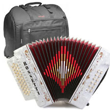 ROSSETTI ACCORDION 34 BUTTON 3 SWITCH GCF 12 BASS SOL WHITE + STAGG PADDED BAG