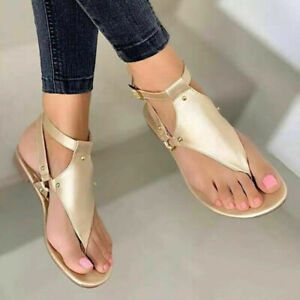 Womens Open Toe Thong Sandals Summer Flip Flop Ankle Strap Flat Shoes Fashion