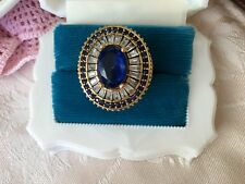 Antique Jewelry Sterling Silver and Gold Ring with Sapphires Vintage Jewellery