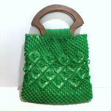 Vintage Woven Green Boho Purse Bag Retro Macrame Wooden Handles