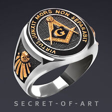 Masonic Ring Freemason Silver 925, All seeing eye, with 24K-Gold-Plated Parts