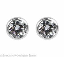 1x Pair of Sterling Silver 4mm Crystal Gem Set Studs Earrings + gift bag