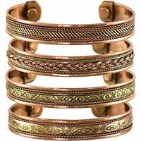 Set of 4 Tibetan Copper Bracelets Magnetic India Pattern Women's Men's Jewelry