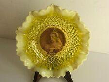 More details for antique victorian yellow vaseline glass portrait plate of queen victoria 1/8