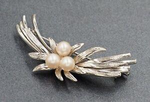 Cultured Pearl Womens Brooch Sterling Silver Fine Jewellery