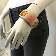 Miss Selfridge Ladies Cream Gold Floral Metal Enamel Thick Cuff Bracelet Bangle