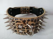 "4 Row Spiked Studded Dog Collar PU Leather Tan Leopard Size Medium 19""-22"""