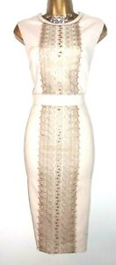 💝BEAUTIFUL PHASE EIGHT NUDE LACE TRIM EVENING PARTY COCKTAIL WEDDING DRESS 12