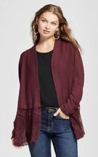 Women's Lace Open Layering Sweater Knox Rose Burgundy M NWT Cardigan Red Solid