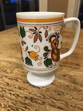 Mid Century VINTAGE RETRO Pedestal Coffee Mug Cup JAPAN Orange Avocado Green
