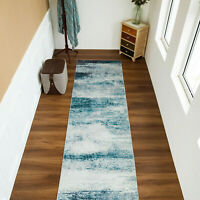 Abstract Large Rug Runner Blue Grey Print Morden Carpet Area Rug 80X300CM