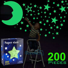 200X Glow in the Dark Stars w/ Big Moon-Perfect Gift, Room Wall Decal Stickers