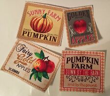 Pumpkin and Apple Patches - Iron On Fabric Appliques - Fall