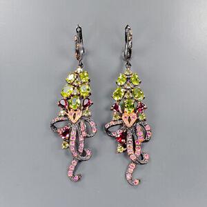 Fine Art SET Peridot Earrings Silver 925 Sterling   /E48742