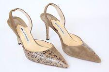Manolo Blahnik Brown Suede & Snakeskin Pointy Toe Slingback Heel Shoes - 40 / 10