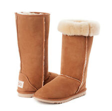 Flat (0 to 1/2 in.) Sheepskin Knee High Boots for Women