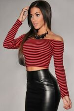 NEW Striped Red and Black Crop Top Off The Shoulder: Size 8 10
