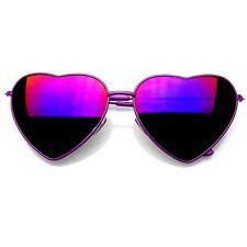 262dfbfb6963 Cute Womens Metal Heart Shape Flashmirrored Sunglasses (purple)