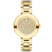 Movado Bold Yellow Gold Tone Crystal Pave Dial Ladies Watch 3600493