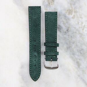 Suede Leather Watch Strap - Green - 18mm/20mm
