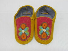 NATIVE NORTH AMERICAN BEADED HIDE MOCCASINS 10 INCHES COLORFUL ABSTRACT DESIGN