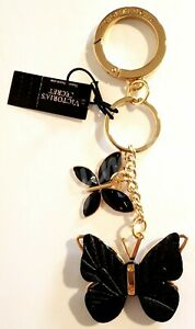 VICTORIA SECRET KEYCHAIN CHARM - BUTTERFLY - GOLD METAL, PINK, BLACK - NWT