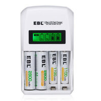 EBL 4-Slots LCD Fast Charger for AA AAA NIMH NICD Rechargeable Battery US Plug