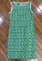 Talbots Women's Green Linen Embroidered Eyelet Sleeveless Dress Size Petite 6